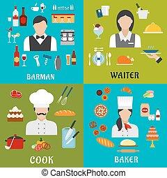 烹調, 麵包師, 男服務員, 職業, 女服務員