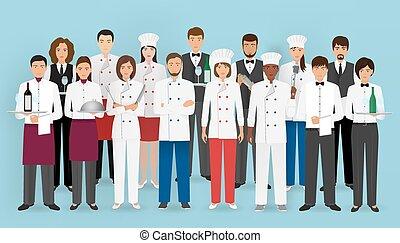 烹調, characters:, 餐館, barman., uniform., 侍者, 服務, 備辦, 組, 廚師, 概念, 隊