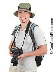 照像機, 年輕, 遊人