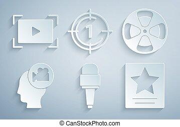 照像機, 矢量, 玩, 框架, 影像, 集合, 步行, 電影明星, 倒計時, 話筒, 在網上, 卷起, 好萊塢, 名聲, icon., 頭, 老, 電影