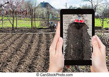 照片, 犁, 地面, 花園, 農夫