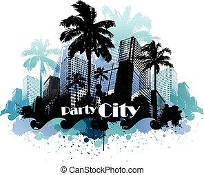 熱帶, 城市, 黨, 背景, 城市