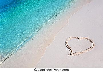 熱帶, 心, 沙子海灘, 天堂