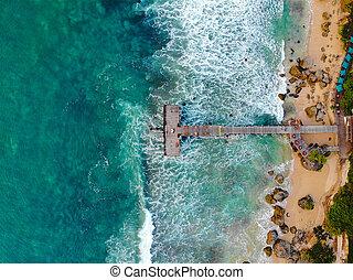 熱帶, 沙子, 看法, 藍色, 海灘, 船塢, 空中, 頂部, 在上方, 水