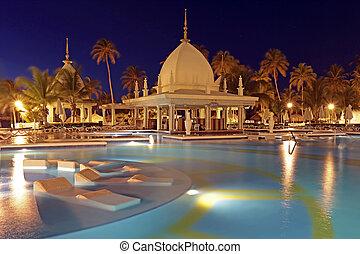 熱帶, aruba, 加勒比海, 夜晚, 池