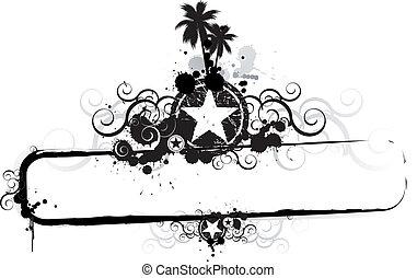 熱帶, grunge, 旗幟