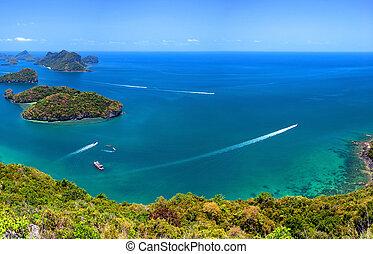 熱帶, samui, ang, 空中, 皮帶, 自然, 島, 國家公園, ko, 群島, 全景, 海, 泰國, 觀點。, 陸戰隊