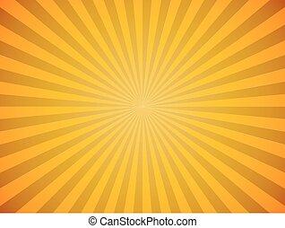 爆發, 太陽, 黃色, 背景。, 明亮, 矢量, 水平