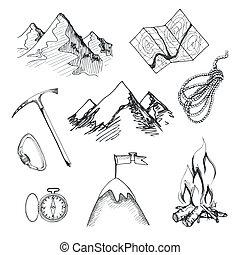 爬山, 露營, 圖象