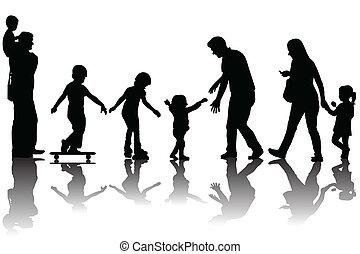 父母, 黑色半面畫像, 孩子, 公園
