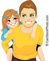 爸爸, piggyback騎乘, 女儿
