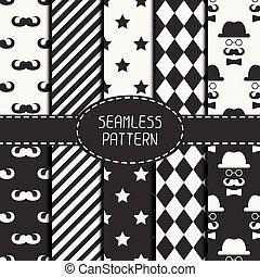 牆紙, 集合, mustache., 圖案, 矢量, 圖表, seamless, fills., 你, geometri, 背景。, 紙, scrapbook., 結構, 時髦, 彙整, 單色, 行家, 時裝設計, tiling.