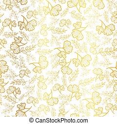 牆紙, 黃金, 偉大, 重覆, scrapbooking, projects., giftwrap, 圖案, 離開, 織品, 結構, seamless, 背景。, 矢量, 秋天