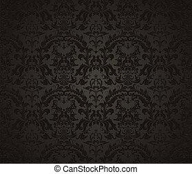 牆紙, 黑色, seamless, 圖案
