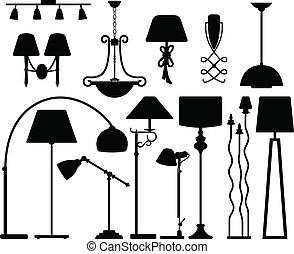 牆, 天花板, 設計, 燈, 地板
