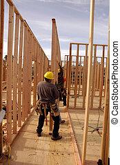 牆, 房子, hispanic, 确定, 木匠, 正在建設中