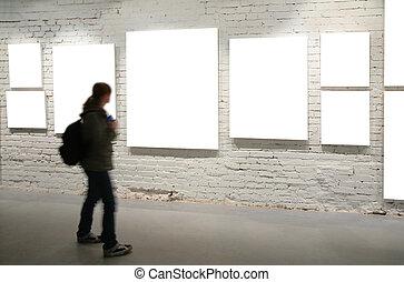 牆, 步行, 透過, 框架, 女孩, 磚