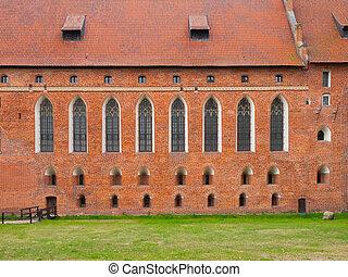 牆, 波蘭, 高, windows, 哥特式, 磚, 城堡, malbork, 教堂