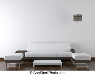 牆, 現代, 設計, 內部, 白色, 家具