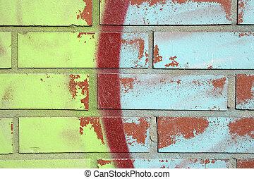 牆, 磚, graffiti, 鮮艷