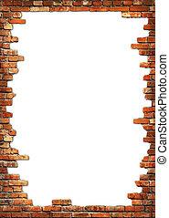 牆, grungy, 磚, 框架