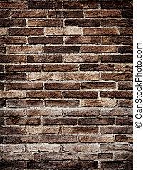 牆, grungy, 磚, 老, 結構