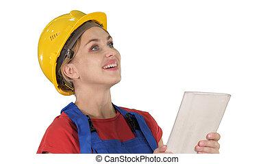 片劑, 建設, 工程師, 電腦, constru, 女性
