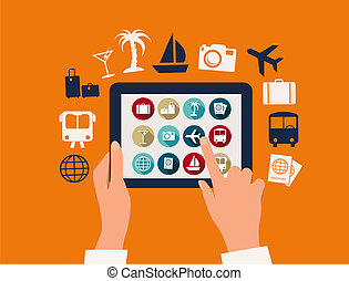 片劑, 旅行, 假期, icons., 触, vector., 手