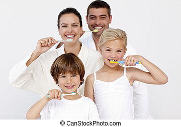 牙齒, 他們, 清掃, 浴室, 家庭