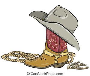 牛仔靴, 被隔离, 西方, 白帽子