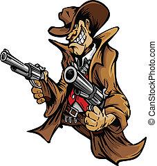牛仔, 卡通, 瞄准, 槍, 吉祥人