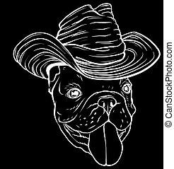牛仔, 插圖, 黑色半面畫像, hat., 矢量, 狗