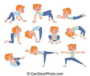 物理, 傷口, exercises., 字, 男孩, 卡通, 很少, 有趣