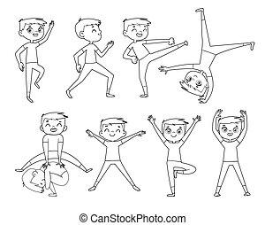 物理, exercises., outline, 男孩, 很少, 圖畫