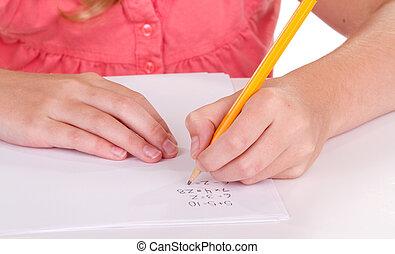 特寫鏡頭, 問題, 女孩, 數學