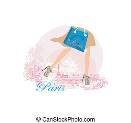 特寫鏡頭, 購物, 巴黎, 腿, 婦女