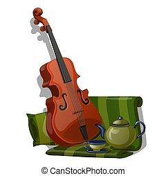 特寫鏡頭, 集合, 織品, 茶, 被隔离, 作品, 背景。, 矢量, 綠色, 小提琴, 白色, 有條紋, 卡通, illustration.