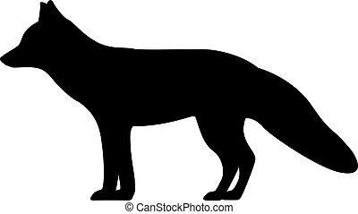 狐狸, 矢量, 黑色半面畫像, 插圖, 黑色
