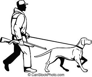 狗, 指針, 黑色, 匈牙利人, retro, 白色, 獵人, 邊, 步行, 看法, 鳥