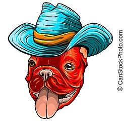 狗, 牛仔, 矢量, 插圖, hat.