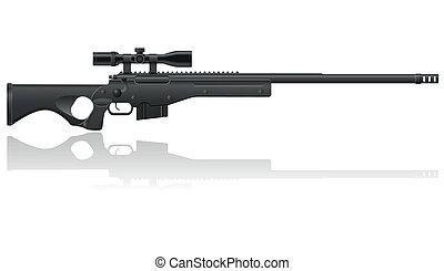 狙擊手, 矢量, 插圖, 步槍