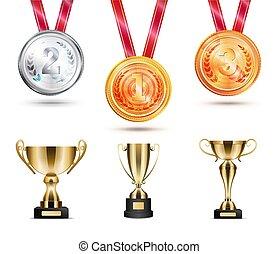 獎章, 矢量, 彙整, 插圖, 戰利品
