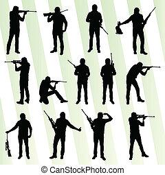 獵人, 集合, 矢量, 黑色半面畫像, 背景