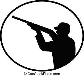 獵人, 黑色, 射擊, 邊, 白色, retro, 橢圓形, 鳥