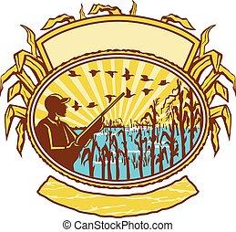獵人, retro, cornfield, 橢圓形, 鳥
