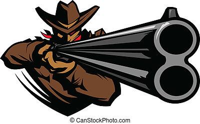 獵槍, 瞄准, 矢量, 牛仔, 吉祥人