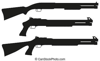 獵槍, 矢量, 黑色半面畫像, 黑色