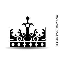 王冠, 白色, 被隔离, 背景