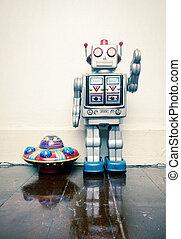 玩具机器人, 木制, 老, 地板, ufo, 葡萄酒