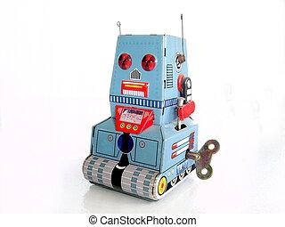玩具机器人, /, 被隔离, 錫, 白色